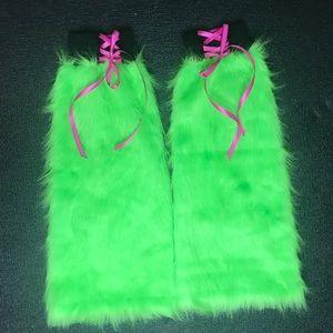 trixy xchange Accessories - Neon Green Corset Flared Fur Leg Warmers Fluffies